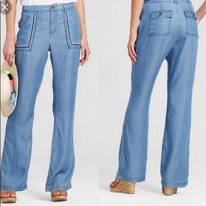 Knox rose Embroiled wide leg chambray pants